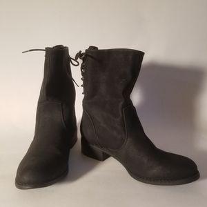 JustFabulous 7.5M Boot Mid Calf Black Flat Heel
